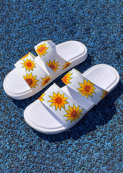 Presale - Sunflower Round Toe Flat Slippers - White