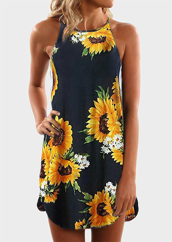 Presale - Sunflower Spaghetti Strap Mini Dress - Deep Blue