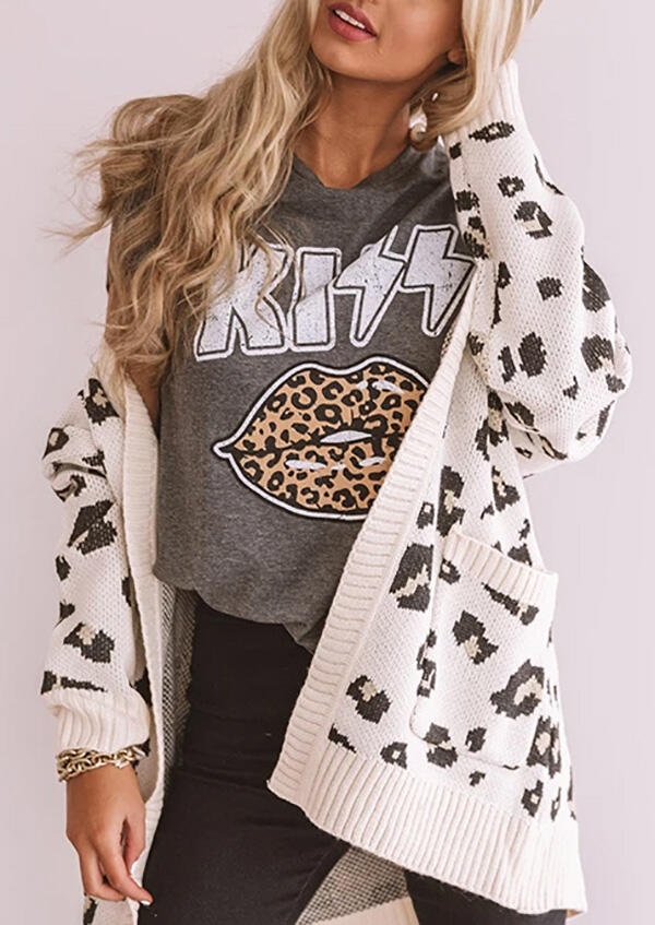 Kiss Leopard Lip T-Shirt Tee - Gray