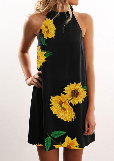 Sunflower Halter Casual Mini Dress - Black