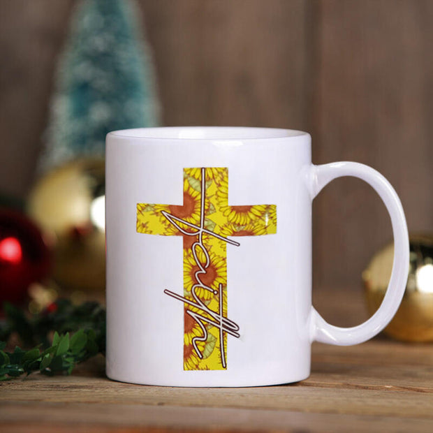 Sunflower Cross Ceramic Mug Cup