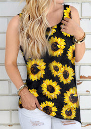 Sunflower Twist Open Back Sexy Tank - Yellow