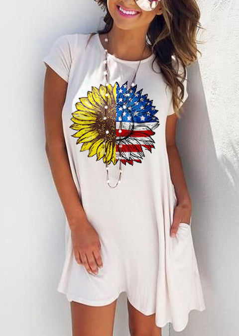 American Flag Sunflower  Pocket Mini Dress without Necklace - White