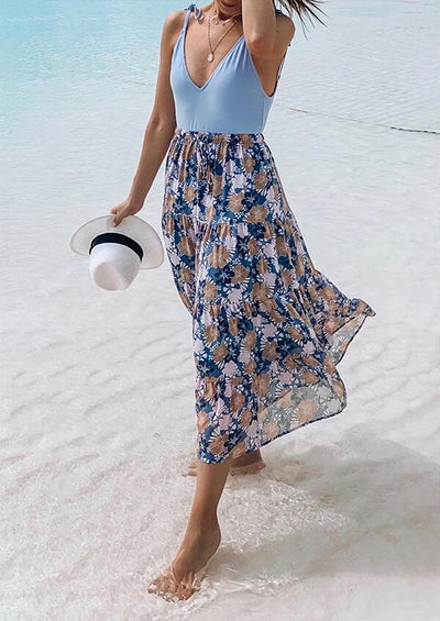 Floral Spaghetti Strap Casual Dress without Necklace - Blue