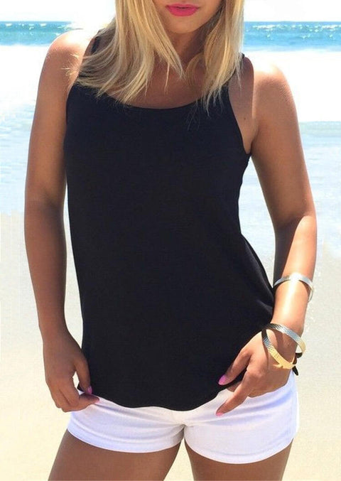 Hollow Out Cross Tank - Black