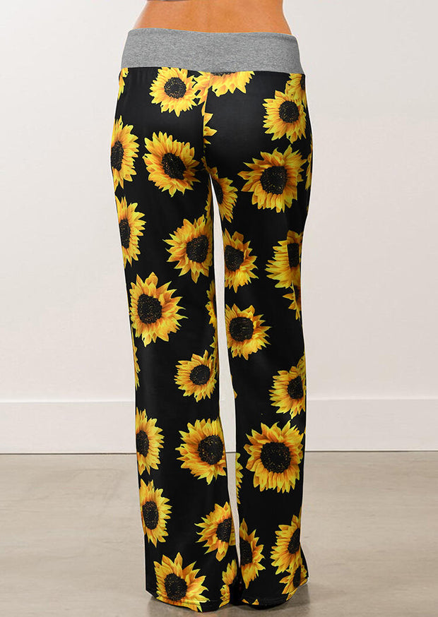 Sunflower Drawstring Wide Leg Pants - Black