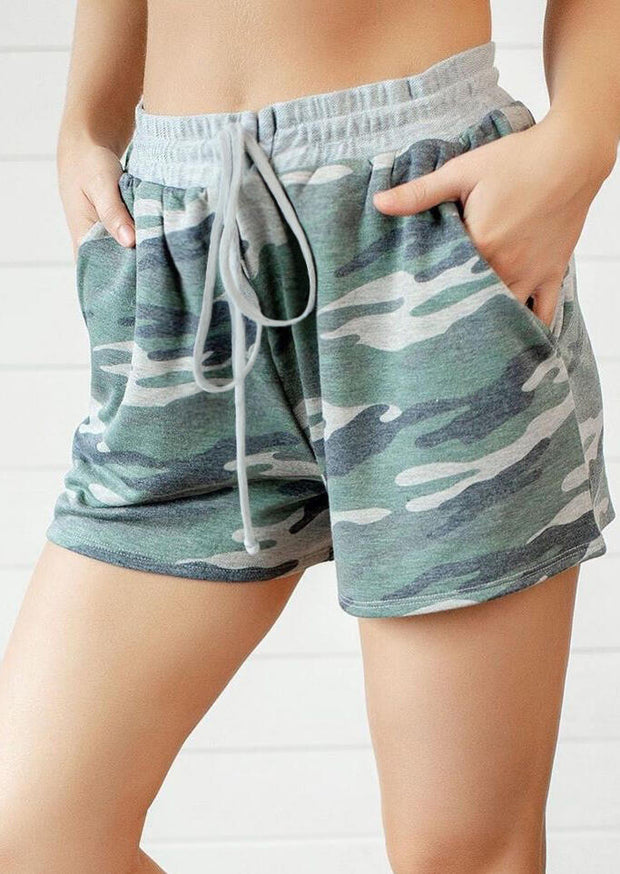 Camouflage Drawstring Casual Shorts