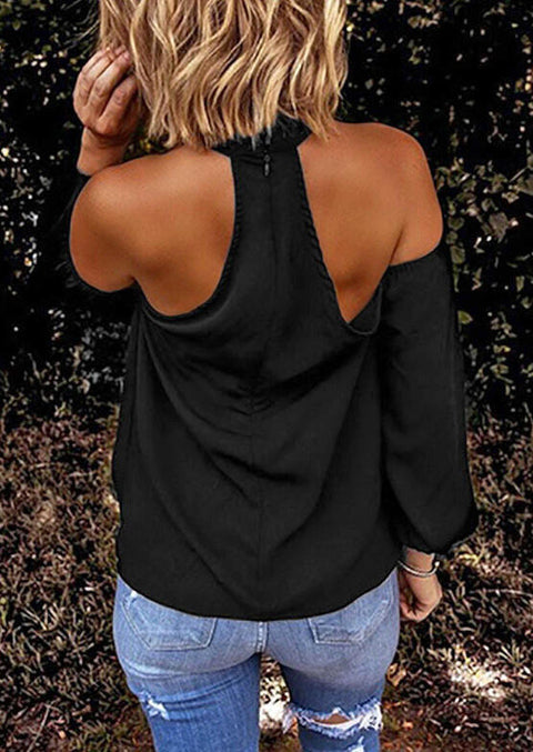 Presale - Criss-Cross Ruffled Halter Zipper Blouse - Black