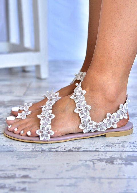 Summer Flower Round Toe Flat Sandals - Light Purple