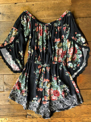 Floral Ruffled Lace Splicing Romper - Black