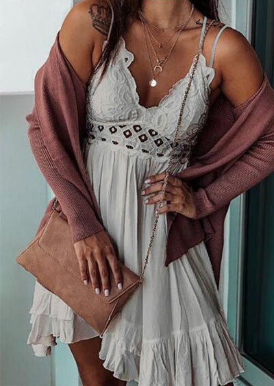 Lace Splicing Ruffled Spaghetti Strap Mini Dress without Necklace- Gray