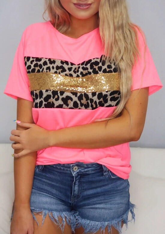 Leopard Sequined Splicing T-Shirt Tee - Pink