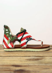 Camouflage American Flag Star Zipper Flat Sandals