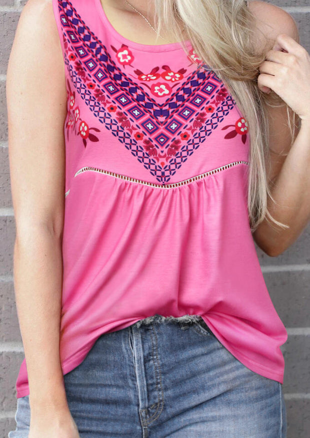 Floral Geometric O-Neck Tank - Rose Red