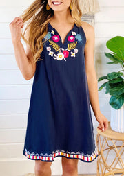 Floral Sleeveless V-Neck Mini Dress - Deep Blue