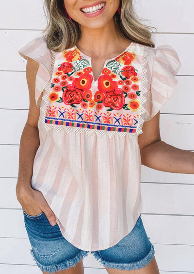 Striped Floral Ruffled V-Neck Blouse