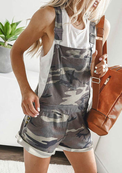 Camouflage Pocket Overalls Romper without Necklace