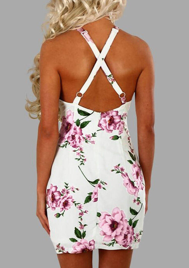 Floral Lace Splicing Halter Open Back Mini Dress - White