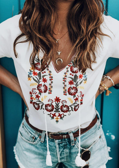 Floral Tassel Drawstring V-Neck Blouse without Necklace - White