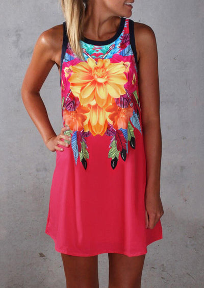 Floral O-Neck Mini Dress - Watermelon Red