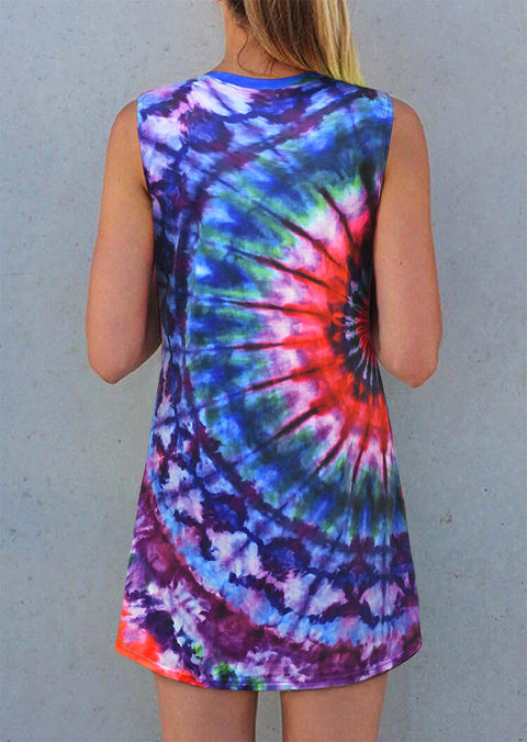Vintage Tie Dye Sleeveless Mini Dress