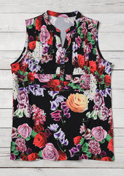 Floral Button V-Neck Tank - Black