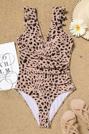 Leopard Wrap One-Piece Swimsuit