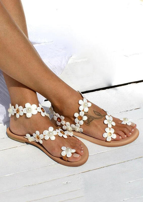 Summer Daisy Pearls Slip On Flat Sandals - White