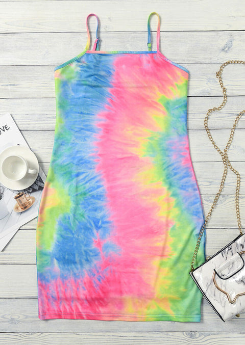 Tie Dye Ruffled Spaghetti Strap Mini Dress without Necklace