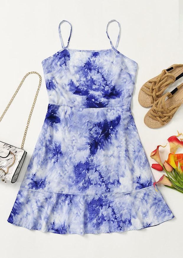 Tie Dye Spaghetti Strap Mini Dress without Necklace - Blue