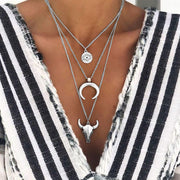 Steer Skull Moon Eye Multi-Layered Necklace - Silver