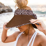 Leopard Foldable Empty Top Straw Hat