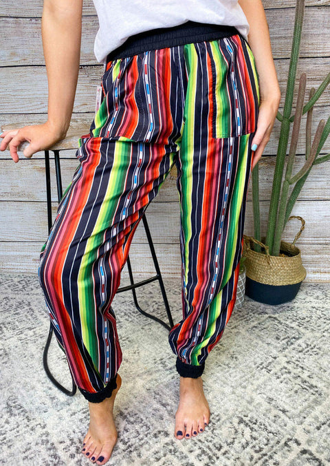 Colorful Striped Splicing Elastic Waist Pants