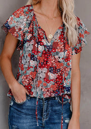 Floral Ruffled V-Neck Tie Blouse without Necklace