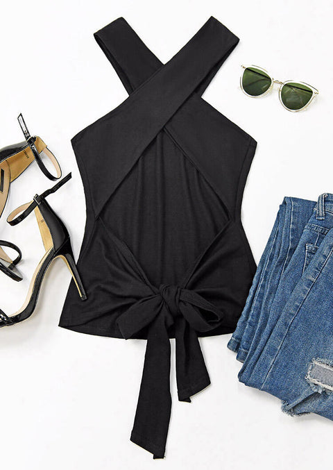 Criss-Cross Open Back Halter Tank without Necklace - Black