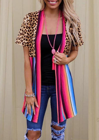 Leopard Splicing Striped Cardigan