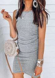 Asymmetric Sleeveless Mini Dress without Necklace - Gray
