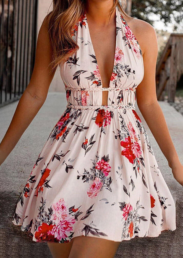 Floral Tie Halter Open Back Ruffled Mini Dress - Apricot