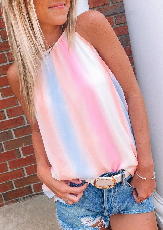 Gradient Color Striped Tie Camisole without Necklace