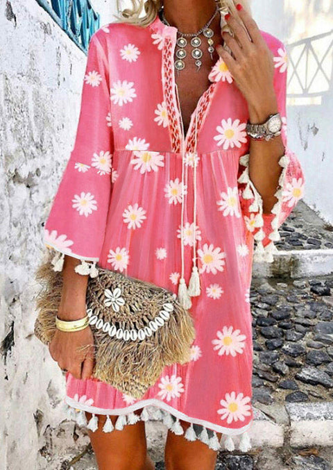 Daisy Ruffled Tassel V-Neck Mini Dress without Necklace - Pink
