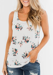 Presale - Floral Open Back Tank without Necklace - White