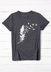 Feather Birds T-Shirt Tee - Dark Grey