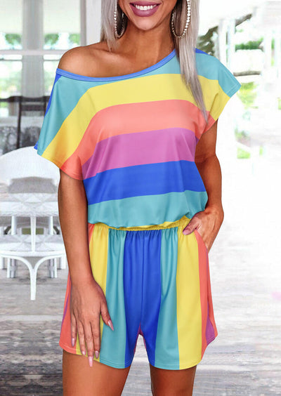 Colorful Striped Splicing Pocket Romper