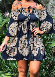 Presale - Floral Ruffled Hollow Out Cold Shoulder Mini Dress - Navy Blue