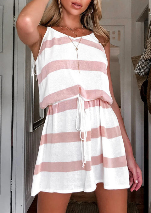 Striped Splicing Drawstring Mini Dress without Necklace - Pink