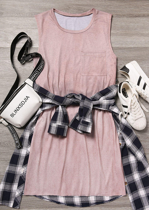 Pocket Sleeveless Mini Dress - Pink