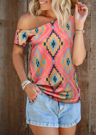 Aztec Geometric One Shoulder Blouse without Necklace