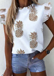 Pineapple Ruffled Button Blouse without Necklace - White