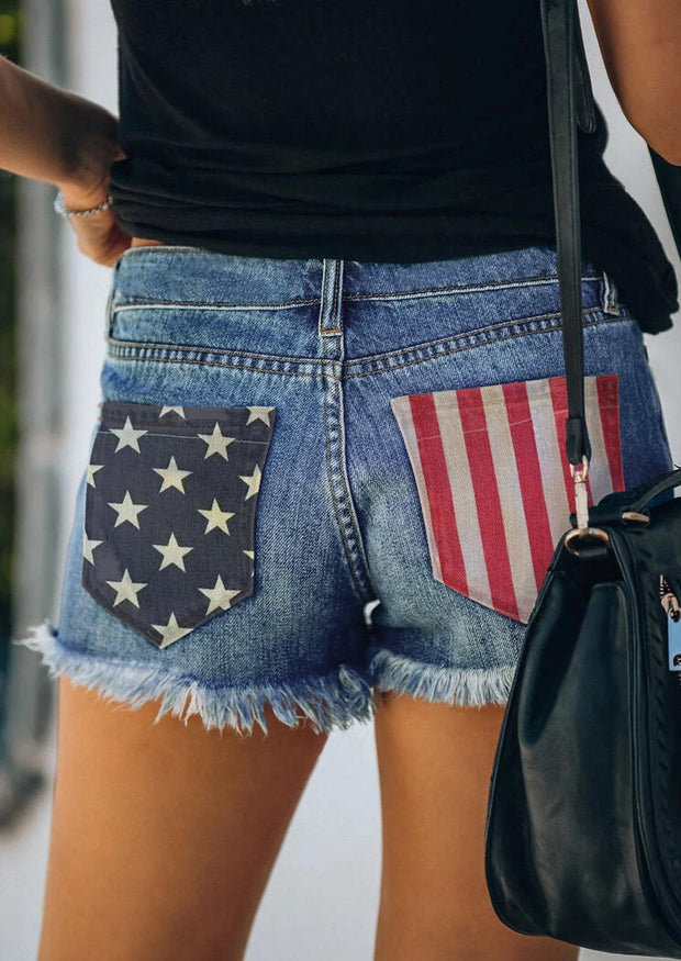 American Flag Ripped Hole Pocket Button Denim Shorts - Blue
