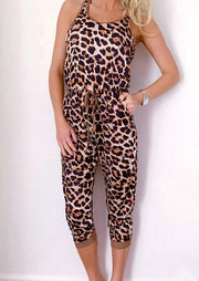 Leopard Drawstring Pocket Sleeveless Jumpsuit